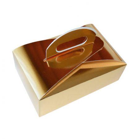 Embalajes Pastor | Envases Pastelería - Caja Metalizada Oro Con Asa