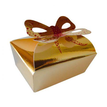 Embalajes Pastor | Envases Pastelería - Caja Metalizada Oro Lazo